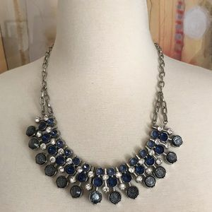 Jewelry - Statement Necklace Sapphire Blue and Diamond 18